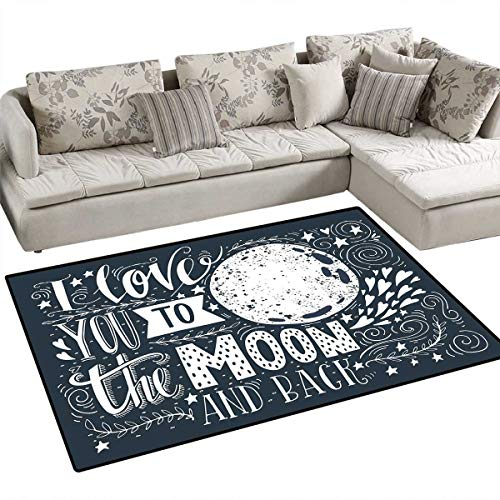 I Love You Area Rugs for Bedroom Wish from The Universe Harvest Swirls Branches Floral Leaves Stars Door Mats for Inside Non Slip Backing 3