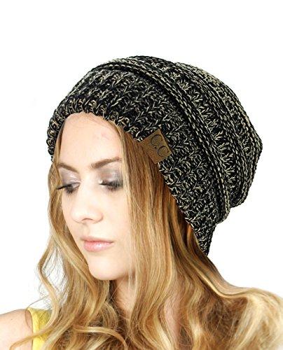 NYFASHION101 Unisex Multicolor Warm Cable Knit Thick Slouch Beanie Cap, Black/Dark Beige