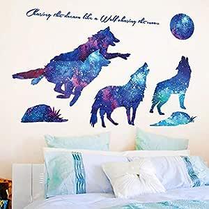 Starry Wolf Animal Moon Bedroom Children'S Room Bedside Wall Sticker