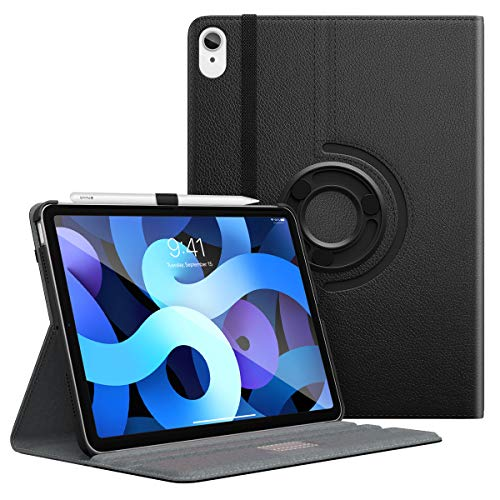 MoKo Case Fit New iPad Air 4th Generation 2020 / iPad Air 4 Case - 90 Degree Rotating Stand Leather Cover, Smart Swivel Case for iPad Air 10.9 inch 2020, Black