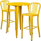 Flash Furniture 30'' Round Yellow Metal Indoor-Outdoor Bar Table Set with 2 Vertical Slat Back Stools
