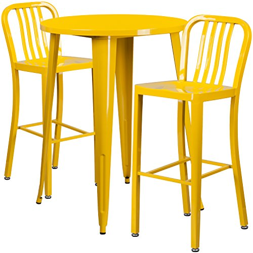 30'' Round Yellow Metal Indoor-Outdoor Bar Table Set with 2 Vertical Slat Back Stools