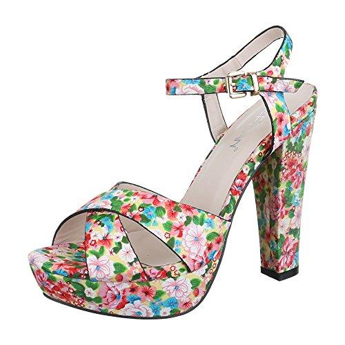 Weiß Multi femme compensées Ital chaussures Design q7WIX