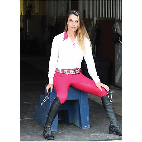 Berry Seat - Equine Couture Beatta Full Seat Breech 26 Berry