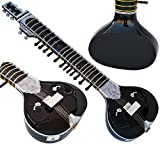Sitar Black - Ravi Shankar Style- 7 Main String, 12 to 13 Sympathetic String, Tun Wood, Flat Back, Traveler Eco Model, Gig Bag, Extra String, Mizrab, With Pick-Up Easy To Connect with Guitar Amplifier