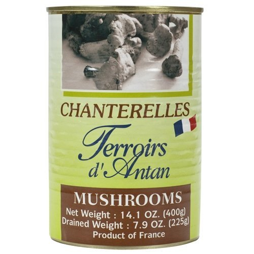 Chanterelles Mushrooms in Water - 1 can, 14.1oz net weight, Drained Weigh 7.9 oz by Terroirs d'Antan, France