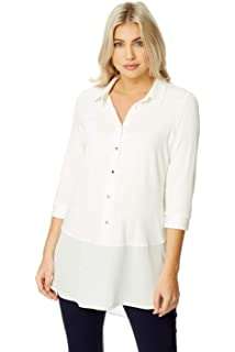 497eb1e1cf17 Roman Originals Women Jersey Longline Shirt Top - Ladies Everyday Blouses  with Sleeves Smart Office Work