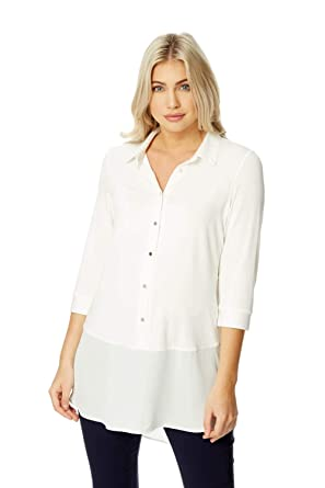 3b9e3e19ca544 Roman Originals Women Jersey Longline Shirt Top - Ladies Everyday Blouses  with Sleeves Smart Office Work Wear Stretch Tunic Tops White  Amazon.co.uk   ...