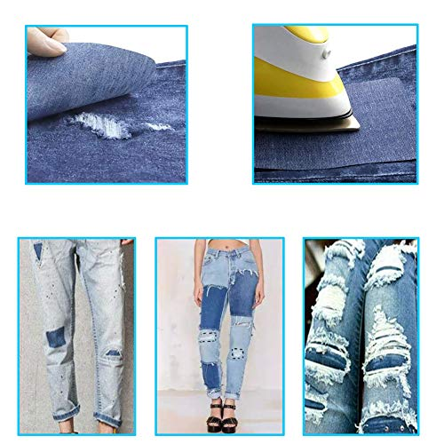 """Harsgs 12 Pieces Iron On Denim Patches Sewing Repair Patches Rectangle Iron on Inside & Outside for Clothing and DIY Repair 5""""× 3.7"""", 12 Colors with Kit"""
