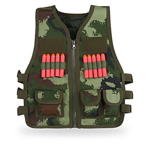Outdoor Sport Nylon Tactic Vest Jacket Kids Elite Tactical Vest With 10 Pcs Soft Foam Darts For Nerf Gun N-Strike Elite Series (Camouflage) by Vbestlife