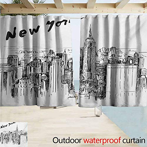 New York Drape for Pergola Curtain Vintage Hand Drawn Urban Scenery with Skyscrapers Sketch Style Downtown for Patio/Front Porch W72 xL63 Charcoal Grey ()