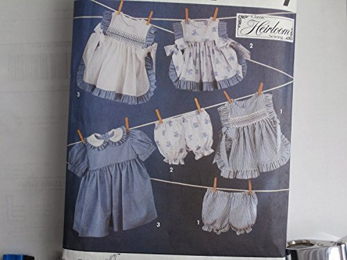 Simplicity 7809 size ( BB 2. 4 )Sewing Pattern for Girls Heirloom Sewing Designer Back Button Dress Pinafore in TWO Lengths and Panties Qith Smocking Transfer