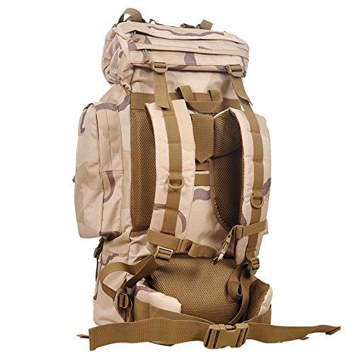 aofit 65L Mochila Militar ejército combate táctico mochila senderismo mochila deportes al aire libre mochila multifunción mochila con bolsa de marco de aluminio en forma de U viaje Camping Senderismo  SS camouflage