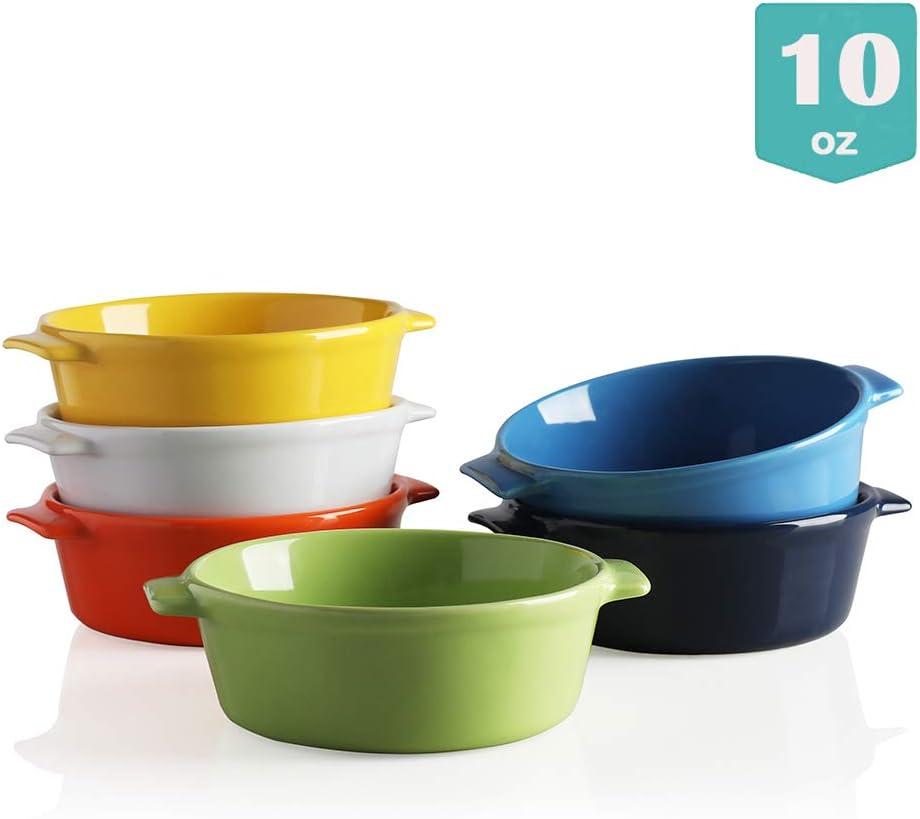 Sweejar Ceramic Souffle Dishes, Round Double Handle-Ramekins-Baking, 10 OZ for Pudding,Creme Brulee,Souffle - Set of 6