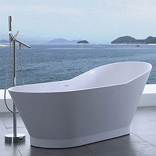 ADM Glossy White Stone Resin Sink SW-118 by ADM Bathroom Design