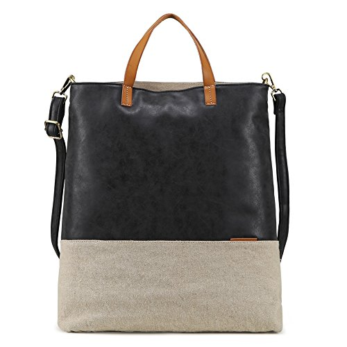 Tote Bag for Women Large Purses and Handbags PU Leather Crossbody Satchel Bags with shoulder strap (Black)