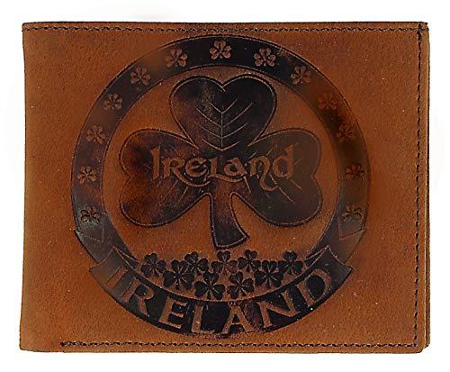 - Irish Luxury Genuine Brown Leather Wallet With Shamrock Design