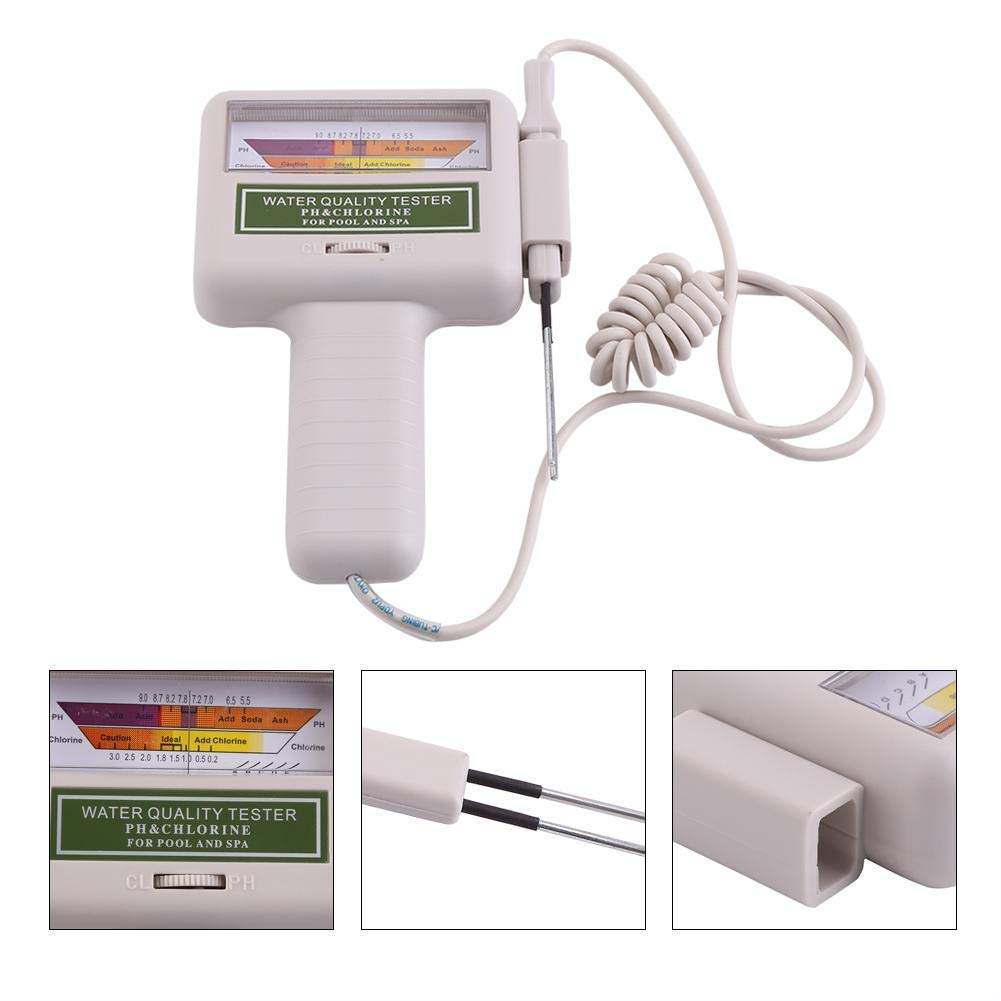 Portable Digital Water PH Tester Chlorine Level Meter Water Quality Analysis Checker for Drinking Water Swimming Pool Spa Water Chlorine 1.2 to1.7 ppm, PH 7.2 to 7.8 Water Quality Tester