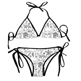 fuxinwang Hand Drawn Africa Bikini Halter Swimsuit Triangle Bathing Suits for Women