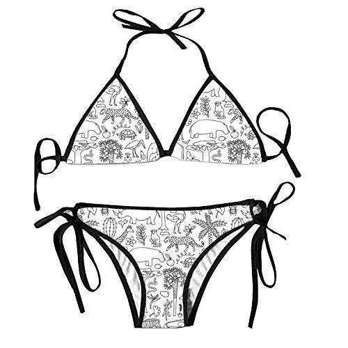 fuxinwang Hand Drawn Africa Bikini Halter Swimsuit Triangle Bathing Suits for Women by fuxinwang