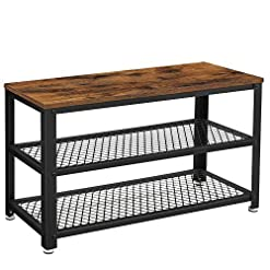 Entryway VASAGLE Shoe Bench, 3-Tier Shoe Rack, 28.7 Inches Long Storage Shelves, for Entryway, Living Room, Hallway, Accent…