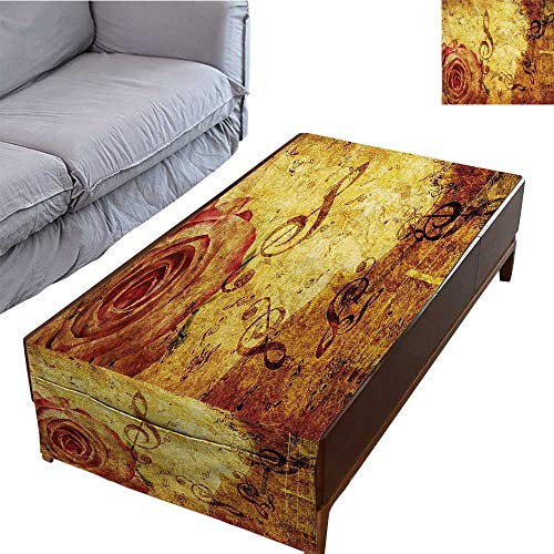 DESPKON-HOME Coffee Table Tablecloth Simple Modern Style Old Fashioned Design with A Big Rose and Treble Clefs Music Notes Harmonical 27.5X70.8