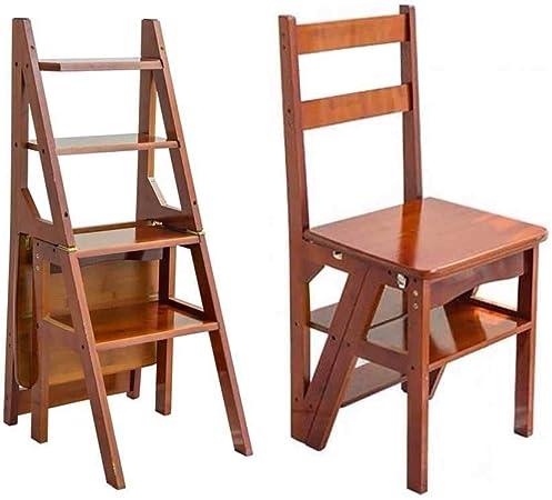 QTUB Taburete de madera Escalera plegable Escalera Silla Banco de trabajo Utilidad Multifuncional Madera maciza Silla plegable Escalera Taburete de madera 4 Asiento plegable Escalada Taburete alto Esc: Amazon.es: Hogar