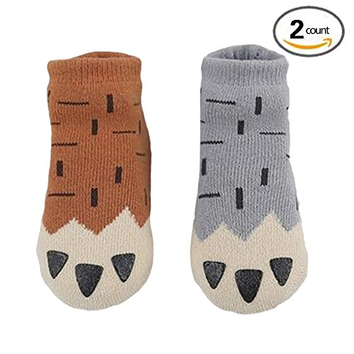 Julvie Anti-Slip Thick Winter Socks(2 Pairs) for Baby 0-4yrs with Claws Print