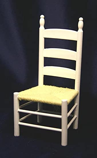Dollhouse Miniature White Wood Ladderback Chair