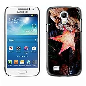 Dull marchitadas Brown Hojas - Metal de aluminio y de plástico duro Caja del teléfono - Negro - Samsung Galaxy S4 Mini i9190 (NOT S4)