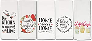 Cute Kitchen Towels, Fun Dish Towels with Home, Family, Love & Baking Theme, 5 Flour Sack Towels