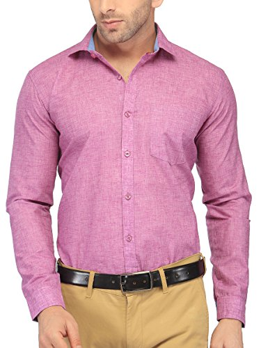 BEING FAB Men Solid Formal Pink Shirt