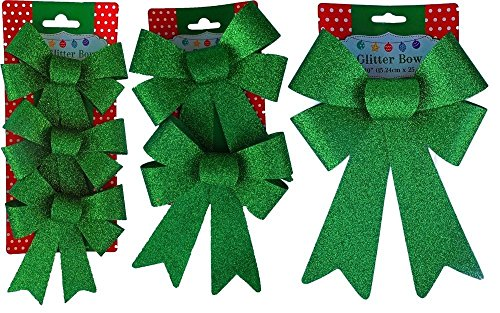 Christmas Decoration Holiday Glitter Bows- Red, Green & Gold (Green)