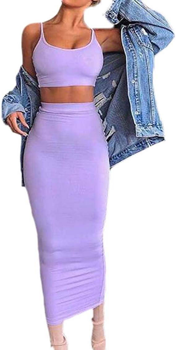 Huateng Mujer Falda sin Mangas Camisa Corta y Top Casual Falda ...