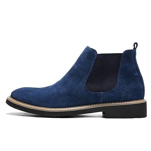 Hombres Zapatos Chelsea Vaca Gamuza Botas Formal Alto Tobillo Trabajo Vestido De TacóN Bajo Oxfords Botas: Amazon.es: Zapatos y complementos