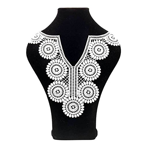 Lace Embroidered Hollow Flower Neckline False Neck Collar Trim Sewing Applique - White liyhh ()