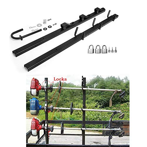 Lonwin 3-Place Trimmer Rack Holder Carrier Mount with 3 Locks Fit for Pickup Trucks Trailer