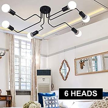 Modern Sputnik Chandelier Lighting Industrial Ceiling Light Vintage Metal Hanging Ceiling Fixture Lamp Kitchen Dining Room 6