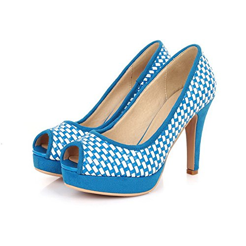 Allhqfashion Donna Tacco Alto Misto Materiali Assortiti Sandali Peep Toe Color Blu