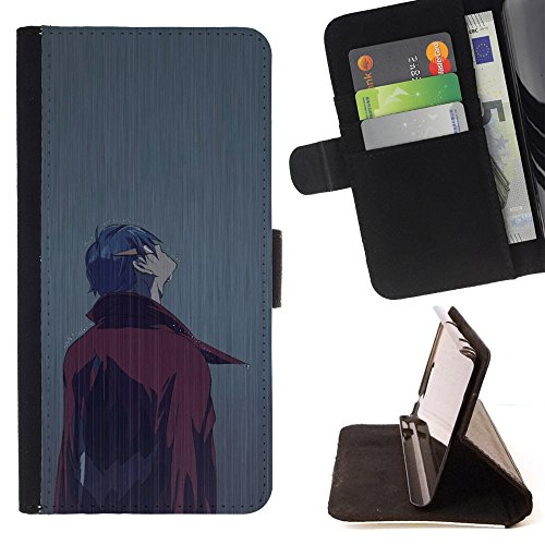 All Phone Most Case / Special Offer Smart Phone Leather Wallet Case Protective Case Cover for HTC ONE X9 // Man Rain Coat Cartoon Comic Character Art