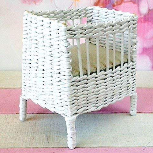 Miniature crib with mattress. 1:6 scale doll wicker miniature cradle for dollhouse. White color ()