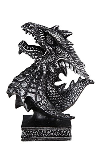 GSC Silver And Black Dragon Head Looking Up Bust Statue Figurine 4.5 Inches Tall 71617