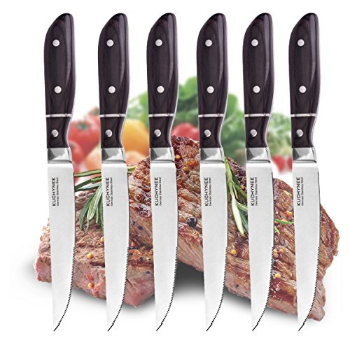 Steak Knives Set 6 or 12 German HC Steel Serrated Steak Knife Rust Resistant Blade And Full Tang Handle - Steak Knifes Gift Box Set KUCHYNEE by KUCHYNEE