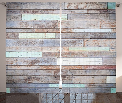 Rustic Home Decor Curtains by Ambesonne, Retro Old Fashio...