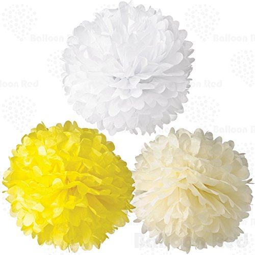 4 Inch Tissue Paper Flower Pom Poms, Pack of 12, Yellow x 4 / Ivory x 4 / White x 4