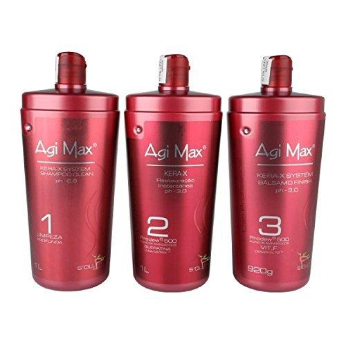 Agi Max Brazilian Keratin Hair Treatment Kit 1 liter - 3 Steps (3 x 1000ml) - The Best Straightening!