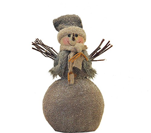 ttered Snowman with Twig Arms Christmas Tabletop Decoration ()