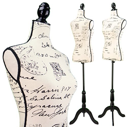 Female Postage print vintage-style fabric Mannequin Dress Form (On Black Tripod Stand) ()