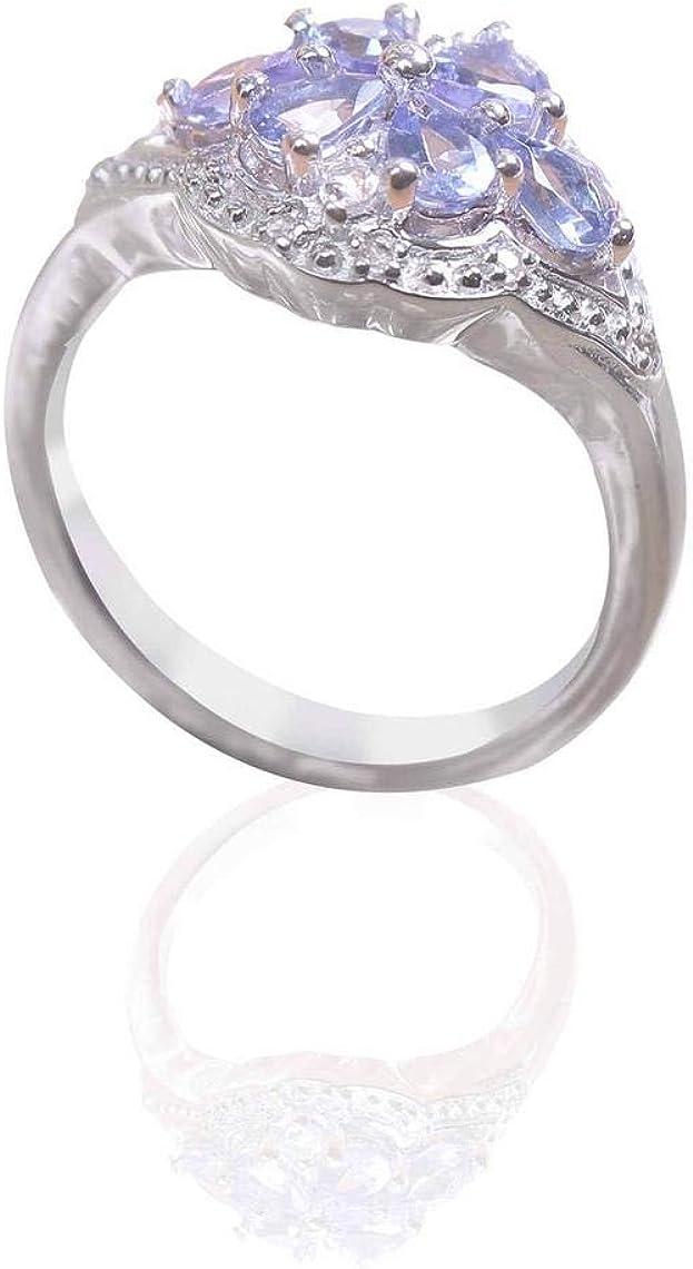 Anillo de plata de ley 925 de tanzanita morada natural, piedra preciosa facetada, anillo de mujer elegante, talla 6 EE.UU., calidad AAAA