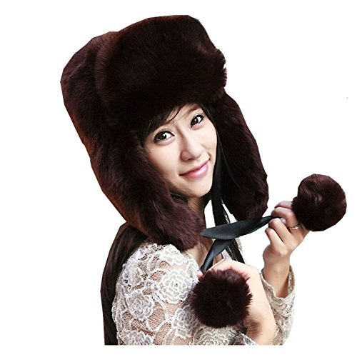 Women Winter Fashion Thick Warm Faux Fur Winter Snow Hat Ear Face Warm Cap Outdoor Trapper hat (Coffee)